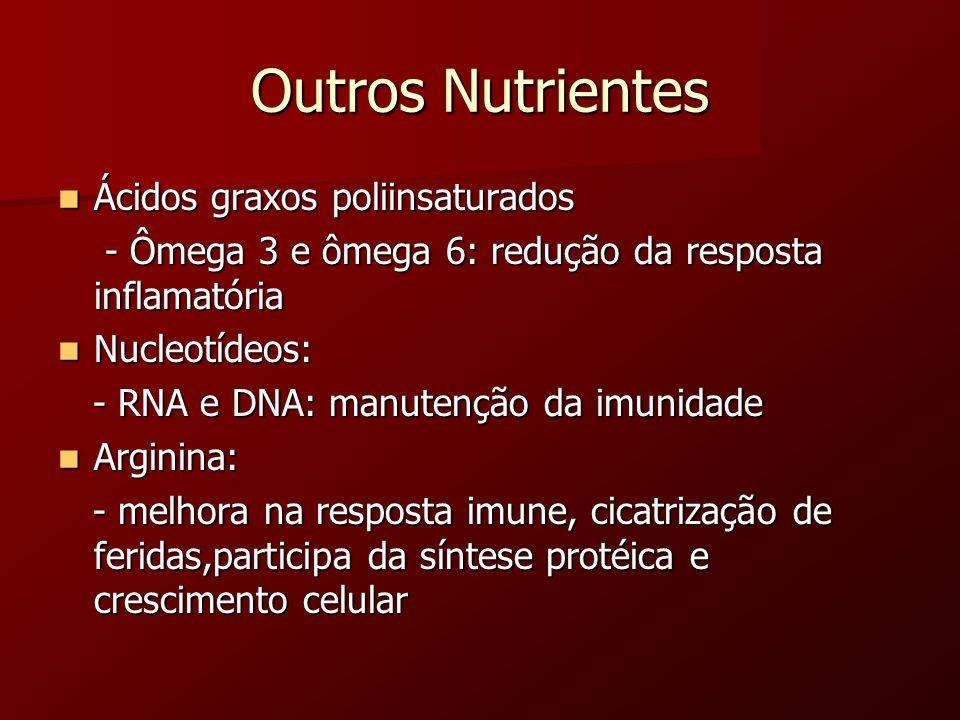 Outros Nutrientes Ácidos graxos poliinsaturados Ácidos graxos poliinsaturados - Ômega 3 e ômega 6: redução da resposta inflamatória - Ômega 3 e ômega