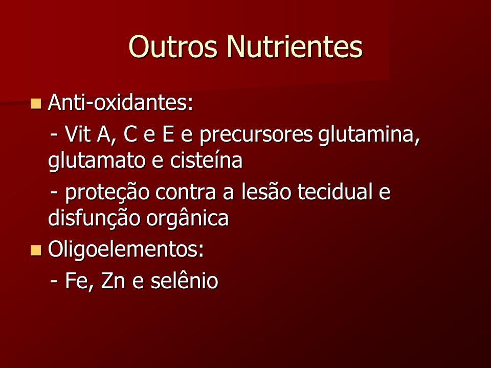 Outros Nutrientes Anti-oxidantes: Anti-oxidantes: - Vit A, C e E e precursores glutamina, glutamato e cisteína - Vit A, C e E e precursores glutamina,