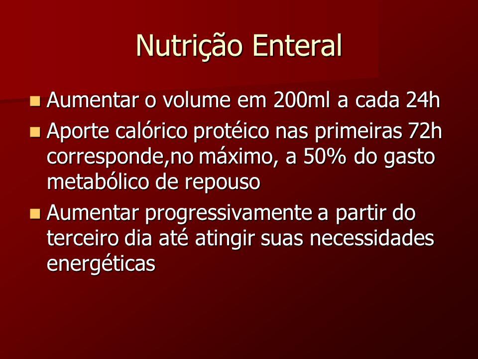 Nutrição Enteral Aumentar o volume em 200ml a cada 24h Aumentar o volume em 200ml a cada 24h Aporte calórico protéico nas primeiras 72h corresponde,no