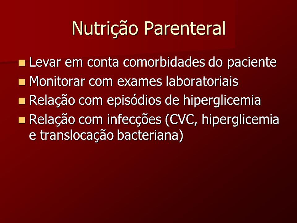 Nutrição Parenteral Levar em conta comorbidades do paciente Levar em conta comorbidades do paciente Monitorar com exames laboratoriais Monitorar com e