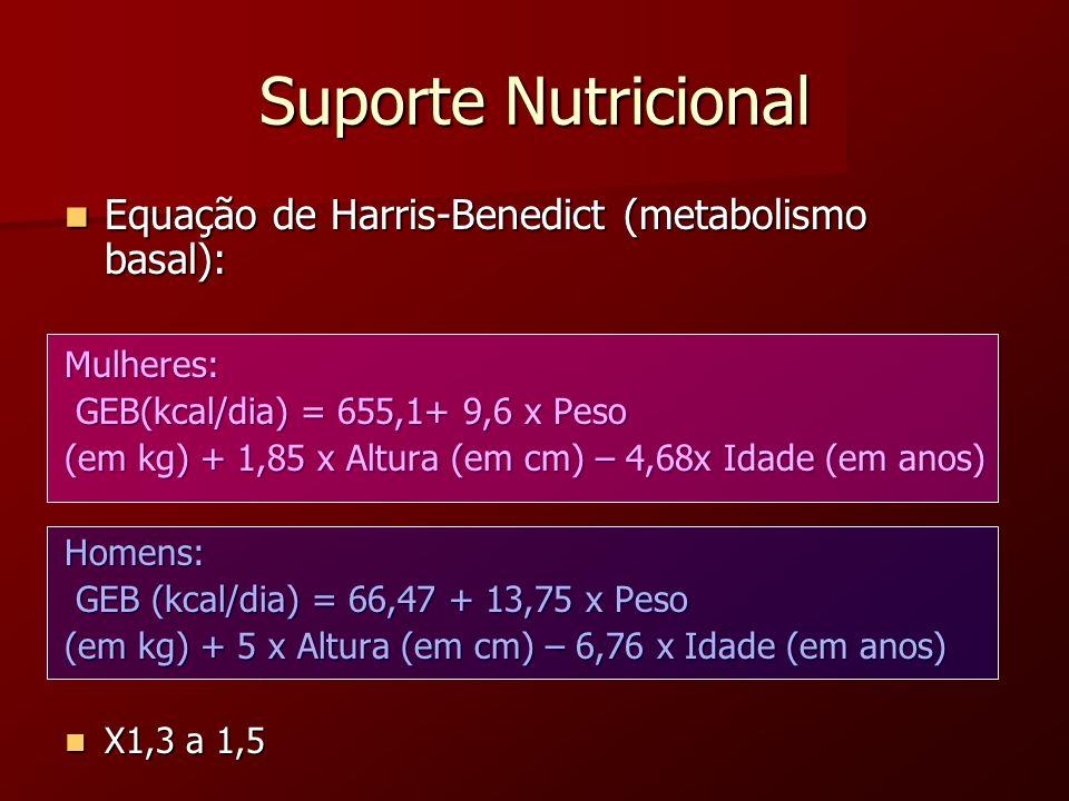 Suporte Nutricional Equação de Harris-Benedict (metabolismo basal): Equação de Harris-Benedict (metabolismo basal):Mulheres: GEB(kcal/dia) = 655,1+ 9,
