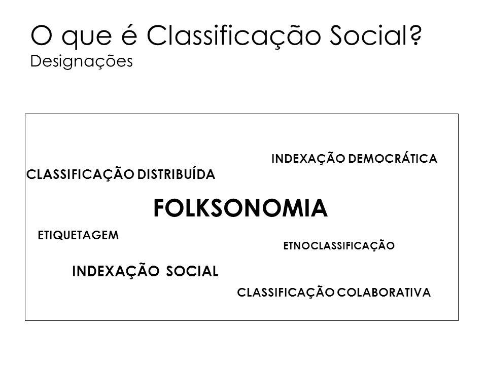 O que é Classificação Social? Designações FOLKSONOMIA CLASSIFICAÇÃO DISTRIBUÍDA ETIQUETAGEM INDEXAÇÃO SOCIAL ETNOCLASSIFICAÇÃO INDEXAÇÃO DEMOCRÁTICA C
