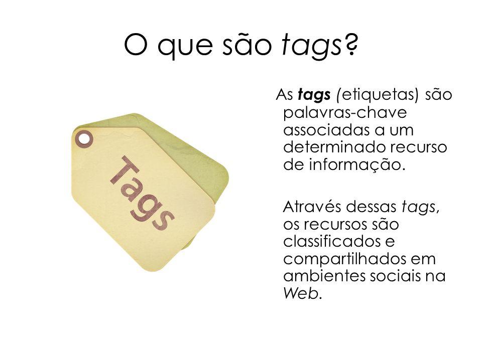 O que são tags? As tags (etiquetas) são palavras-chave associadas a um determinado recurso de informação. Através dessas tags, os recursos são classif