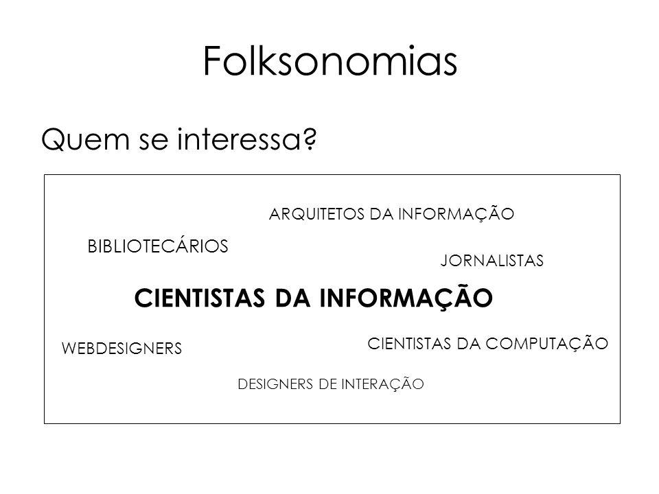 Folksonomias Quem se interessa? BIBLIOTECÁRIOS CIENTISTAS DA INFORMAÇÃO CIENTISTAS DA COMPUTAÇÃO ARQUITETOS DA INFORMAÇÃO JORNALISTAS WEBDESIGNERS DES
