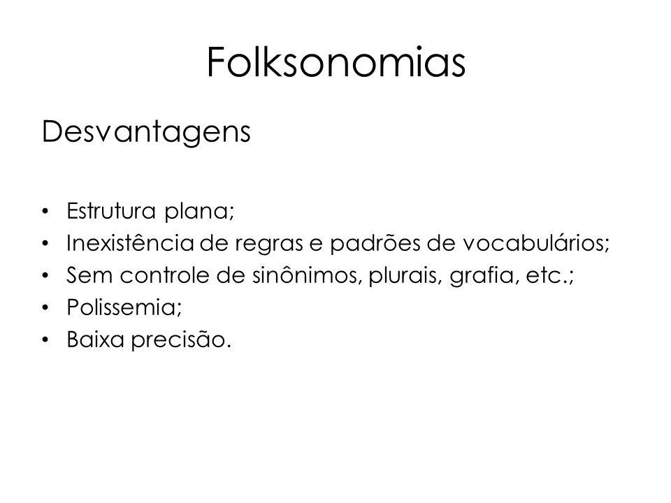 Folksonomias Desvantagens Estrutura plana; Inexistência de regras e padrões de vocabulários; Sem controle de sinônimos, plurais, grafia, etc.; Polisse