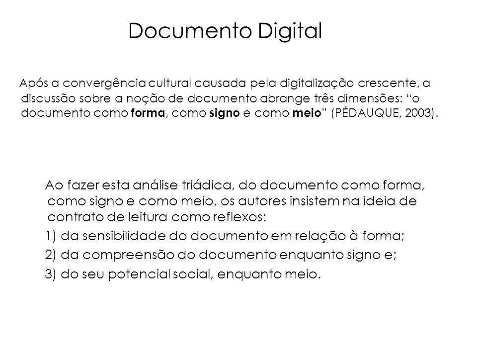 Após a convergência cultural causada pela digitalização crescente, a discussão sobre a noção de documento abrange três dimensões: o documento como for