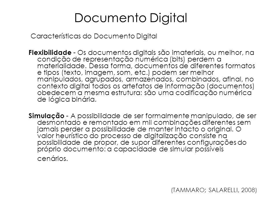 Características do Documento Digital Flexibilidade - Os documentos digitais são imateriais, ou melhor, na condição de representação numérica (bits) pe