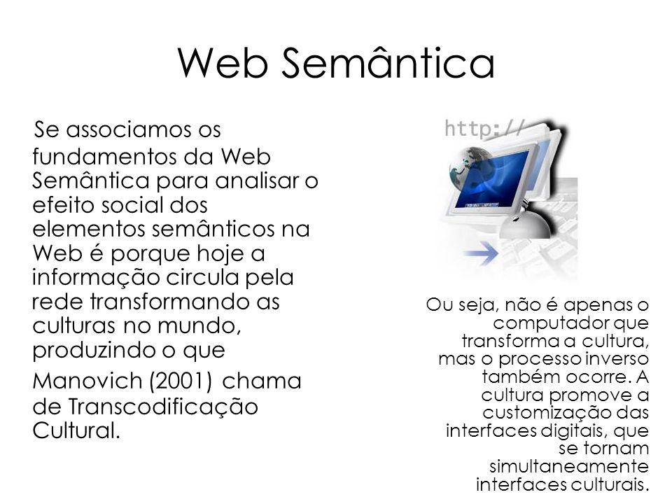 Web Semântica Se associamos os fundamentos da Web Semântica para analisar o efeito social dos elementos semânticos na Web é porque hoje a informação c