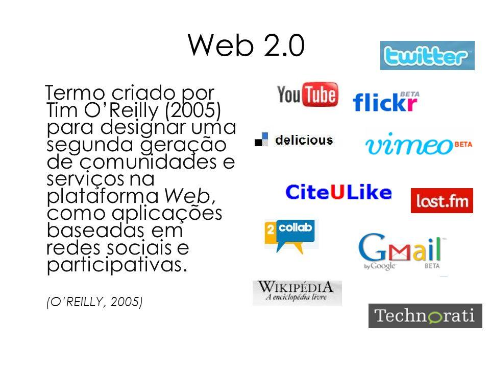Web 2.0 Termo criado por Tim OReilly (2005) para designar uma segunda geração de comunidades e serviços na plataforma Web, como aplicações baseadas em
