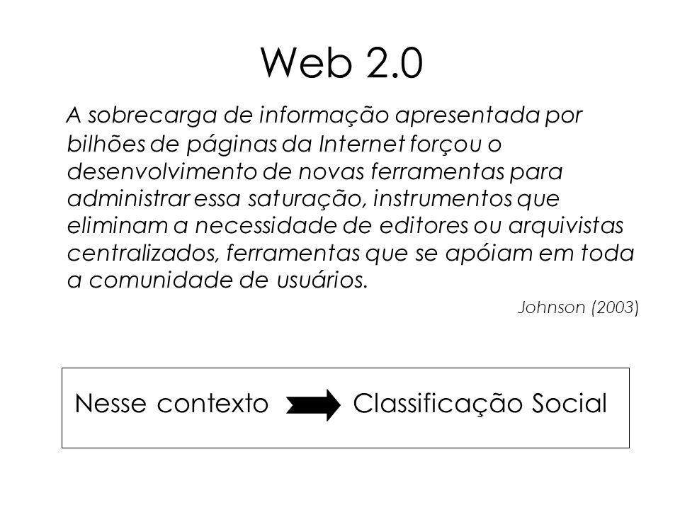 Web 2.0 A sobrecarga de informação apresentada por bilhões de páginas da Internet forçou o desenvolvimento de novas ferramentas para administrar essa