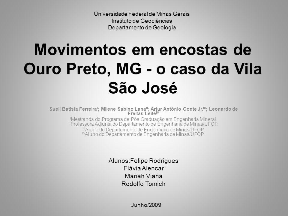 Movimentos em encostas de Ouro Preto, MG - o caso da Vila São José Sueli Batista Ferreira I ; Milene Sabino Lana II ; Artur Antônio Conte Jr. III ; Le