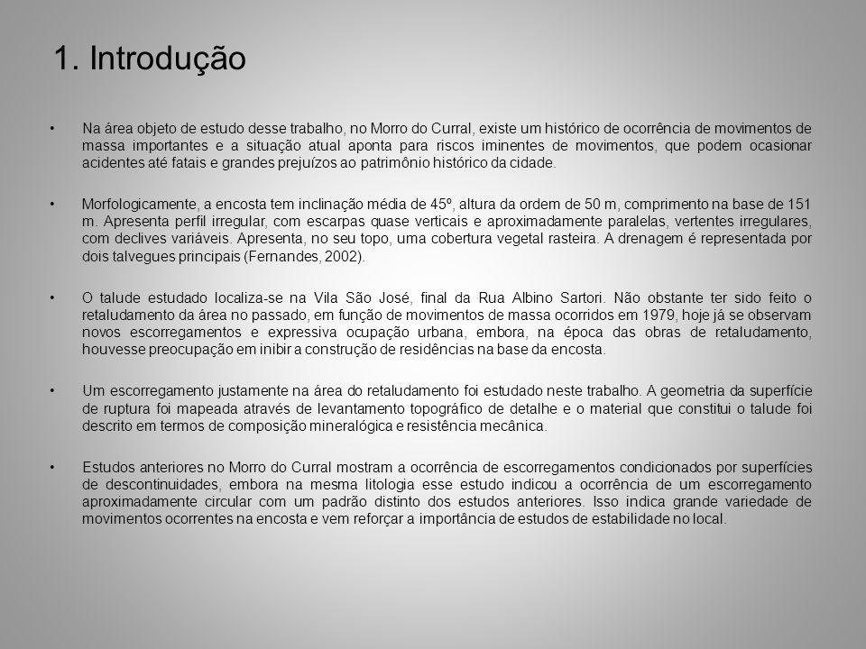 1. Introdução Na área objeto de estudo desse trabalho, no Morro do Curral, existe um histórico de ocorrência de movimentos de massa importantes e a si