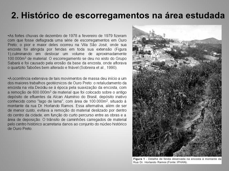 2. Histórico de escorregamentos na área estudada As fortes chuvas de dezembro de 1978 a fevereiro de 1979 fizeram com que fosse deflagrada uma série d