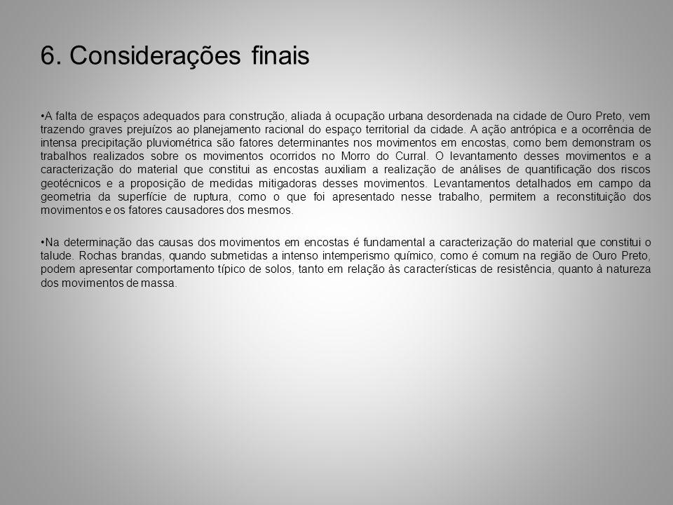 6. Considerações finais A falta de espaços adequados para construção, aliada à ocupação urbana desordenada na cidade de Ouro Preto, vem trazendo grave