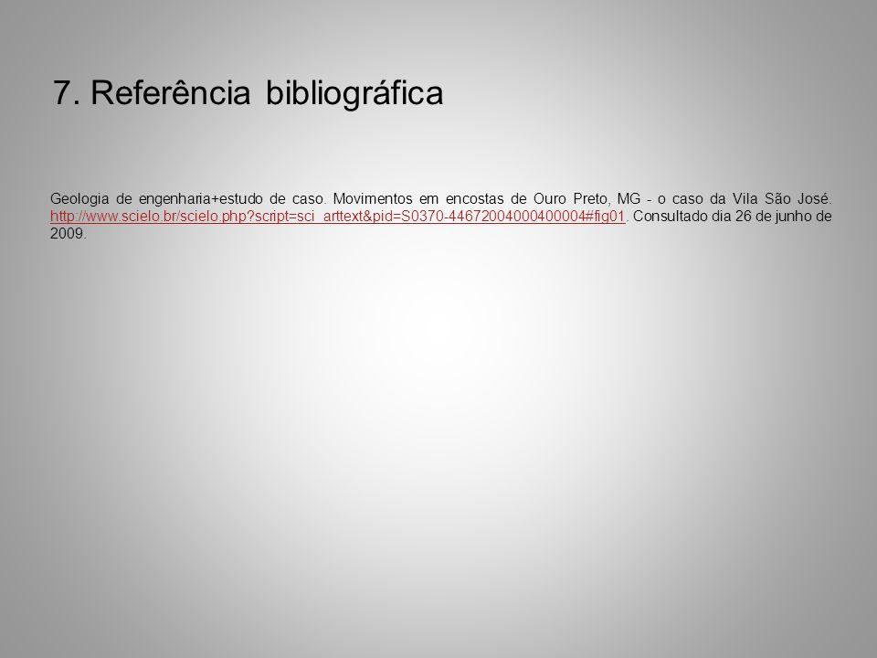7. Referência bibliográfica Geologia de engenharia+estudo de caso. Movimentos em encostas de Ouro Preto, MG - o caso da Vila São José. http://www.scie