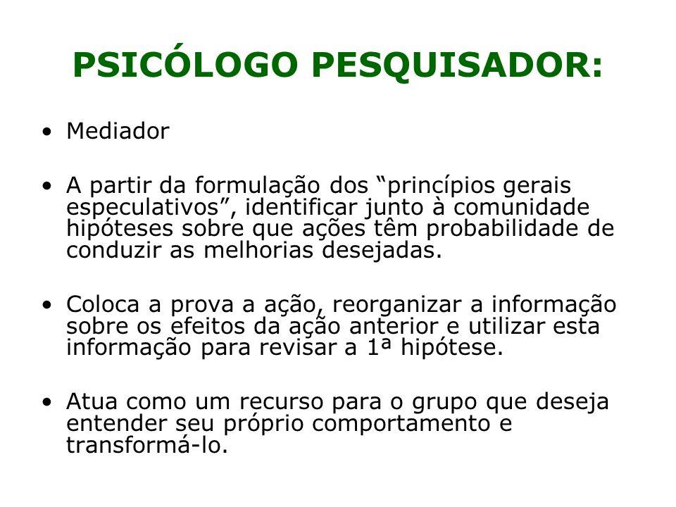 PSICÓLOGO PESQUISADOR: Mediador A partir da formulação dos princípios gerais especulativos, identificar junto à comunidade hipóteses sobre que ações t
