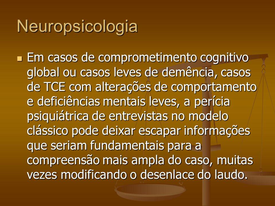 Neuropsicologia Em casos de comprometimento cognitivo global ou casos leves de demência, casos de TCE com alterações de comportamento e deficiências m