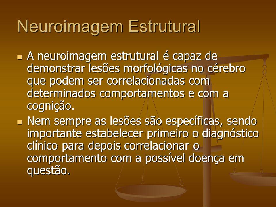 Neuroimagem Estrutural A neuroimagem estrutural é capaz de demonstrar lesões morfológicas no cérebro que podem ser correlacionadas com determinados co