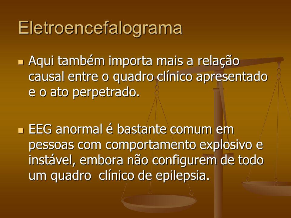 Eletroencefalograma Estudo com pessoas explosivas paroxísticas revelou apenas 5% de EEG anormal; outro encontrou 10% de EEG anormal tanto em homicidas quanto no grupo-controle.