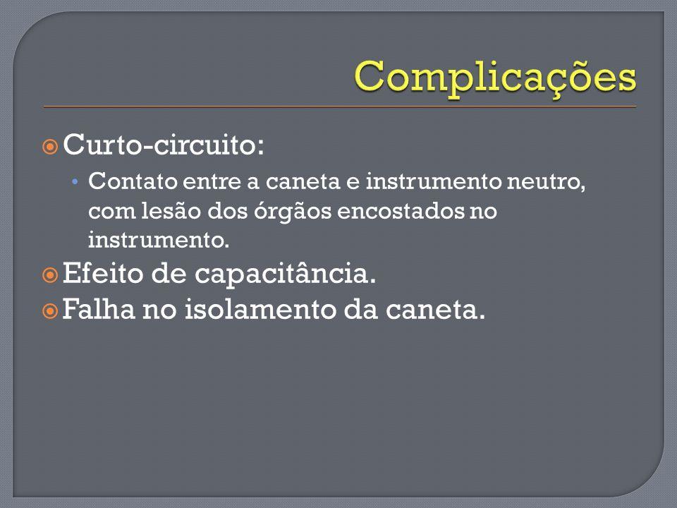Curto-circuito: Contato entre a caneta e instrumento neutro, com lesão dos órgãos encostados no instrumento. Efeito de capacitância. Falha no isolamen