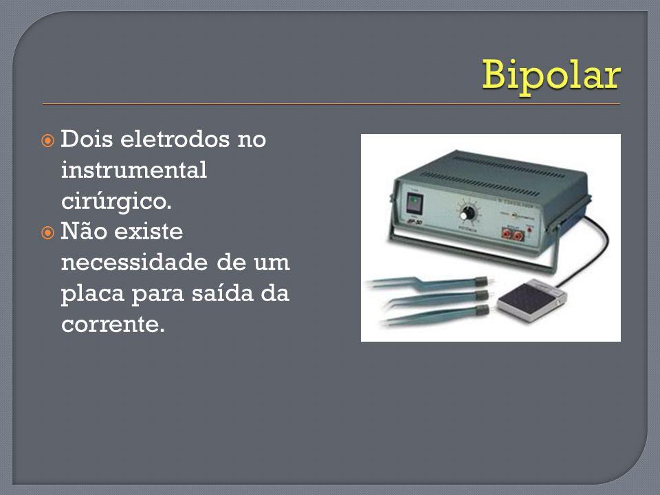 Dois eletrodos no instrumental cirúrgico. Não existe necessidade de um placa para saída da corrente.