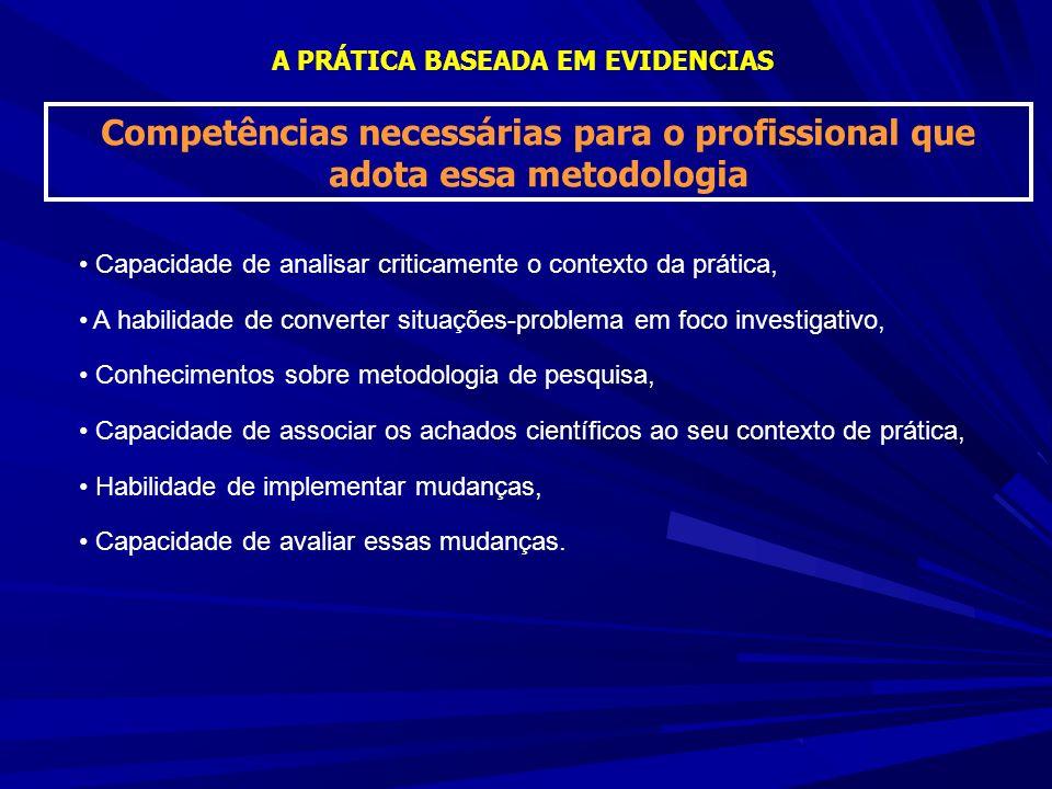 A PRÁTICA BASEADA EM EVIDENCIAS Competências necessárias para o profissional que adota essa metodologia Capacidade de analisar criticamente o contexto da prática, A habilidade de converter situações-problema em foco investigativo, Conhecimentos sobre metodologia de pesquisa, Capacidade de associar os achados científicos ao seu contexto de prática, Habilidade de implementar mudanças, Capacidade de avaliar essas mudanças.