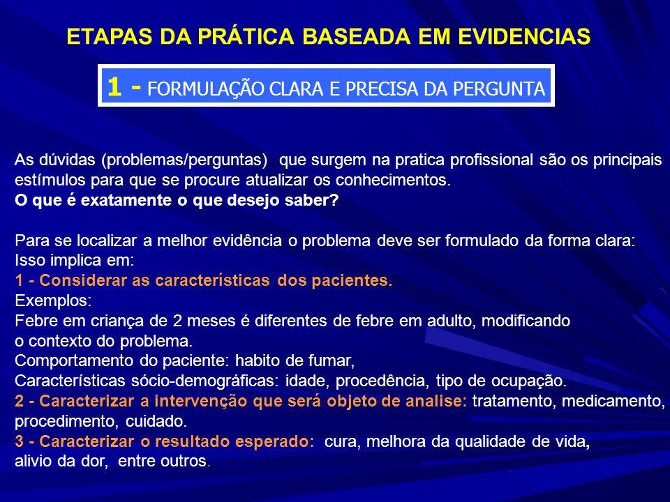 ETAPAS DA PRÁTICA BASEADA EM EVIDENCIAS 1 - FORMULAÇÃO CLARA E PRECISA DA PERGUNTA As dúvidas (problemas/perguntas) que surgem na pratica profissional são os principais estímulos para que se procure atualizar os conhecimentos.