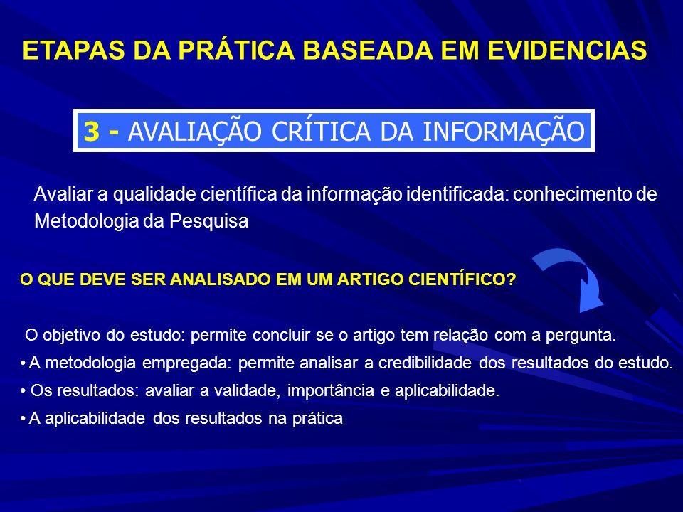3 - AVALIAÇÃO CRÍTICA DA INFORMAÇÃO ETAPAS DA PRÁTICA BASEADA EM EVIDENCIAS Avaliar a qualidade científica da informação identificada: conhecimento de