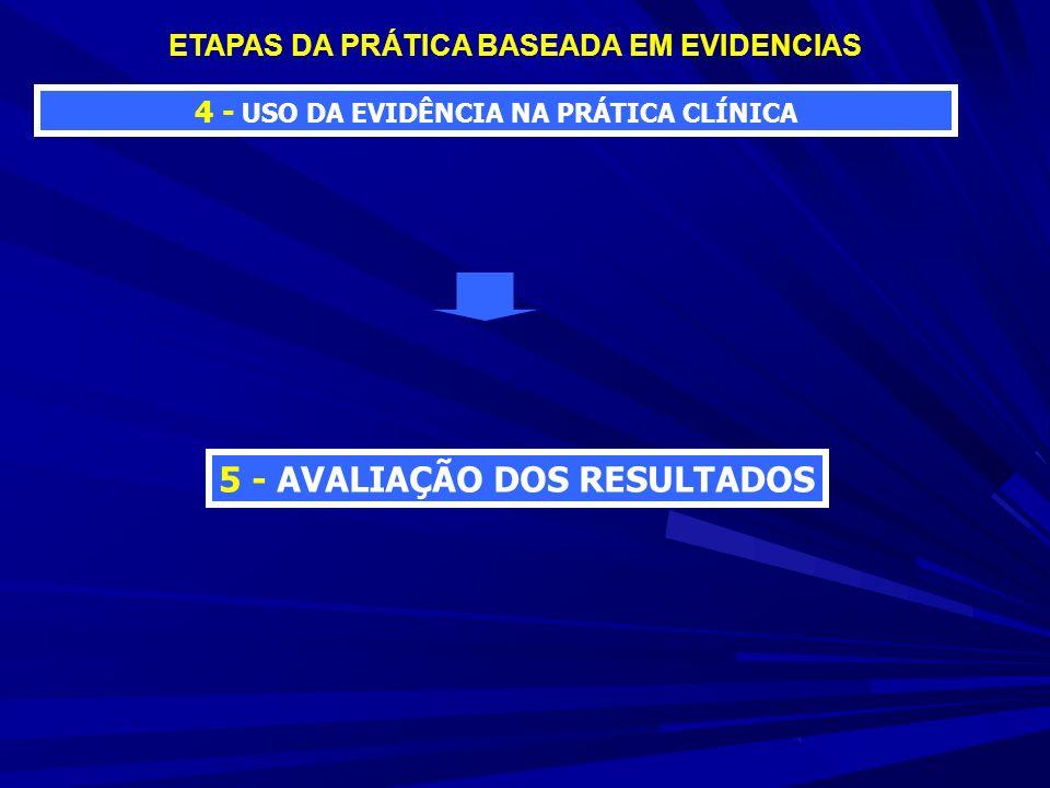 4 - USO DA EVIDÊNCIA NA PRÁTICA CLÍNICA ETAPAS DA PRÁTICA BASEADA EM EVIDENCIAS 5 - AVALIAÇÃO DOS RESULTADOS