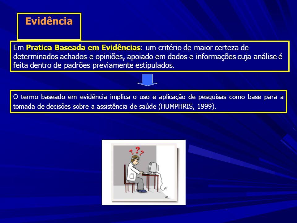 O termo baseado em evidência implica o uso e aplicação de pesquisas como base para a tomada de decisões sobre a assistência de saúde (HUMPHRIS, 1999).