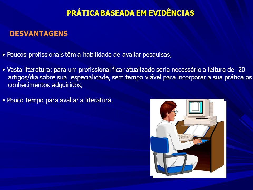 DESVANTAGENS Poucos profissionais têm a habilidade de avaliar pesquisas, Vasta literatura: para um profissional ficar atualizado seria necessário a le