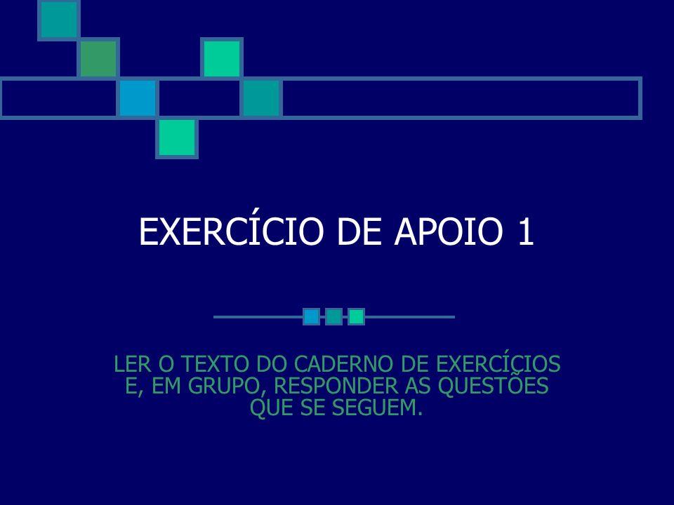 EXERCÍCIO DE APOIO 1 LER O TEXTO DO CADERNO DE EXERCÍCIOS E, EM GRUPO, RESPONDER AS QUESTÕES QUE SE SEGUEM.