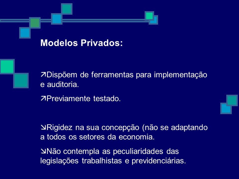 Modelos Privados: Dispõem de ferramentas para implementação e auditoria. Previamente testado. Rigidez na sua concepção (não se adaptando a todos os se