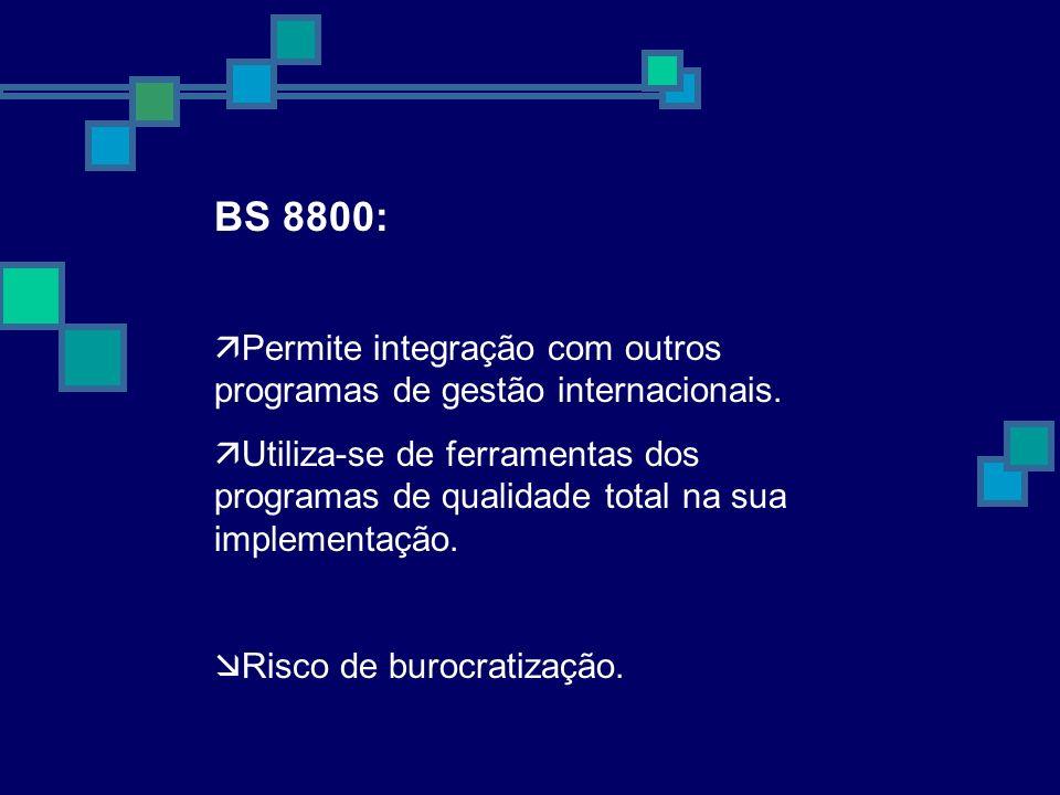 BS 8800: Permite integração com outros programas de gestão internacionais. Utiliza-se de ferramentas dos programas de qualidade total na sua implement