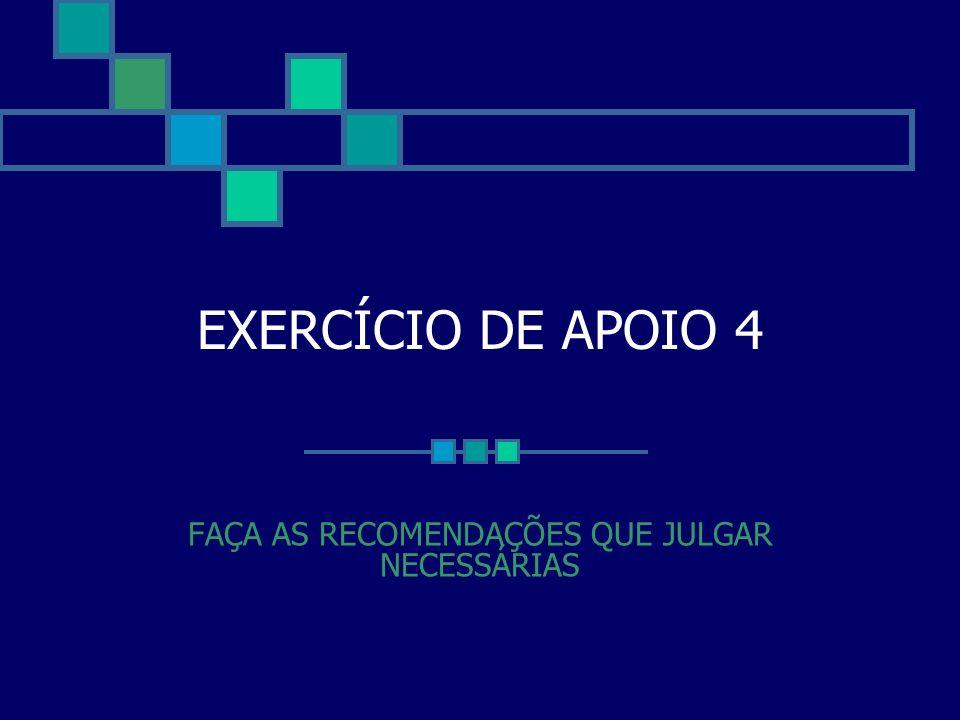 EXERCÍCIO DE APOIO 4 FAÇA AS RECOMENDAÇÕES QUE JULGAR NECESSÁRIAS