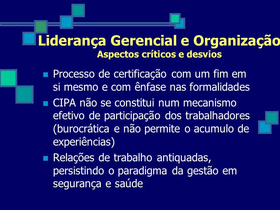 Liderança Gerencial e Organização Aspectos críticos e desvios Processo de certificação com um fim em si mesmo e com ênfase nas formalidades CIPA não s