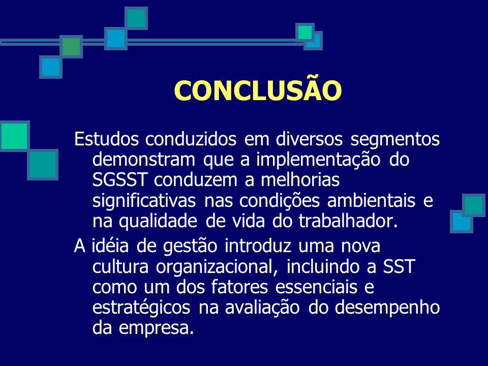 CONCLUSÃO Estudos conduzidos em diversos segmentos demonstram que a implementação do SGSST conduzem a melhorias significativas nas condições ambientai