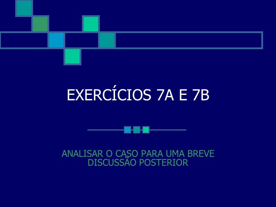 EXERCÍCIOS 7A E 7B ANALISAR O CASO PARA UMA BREVE DISCUSSÃO POSTERIOR