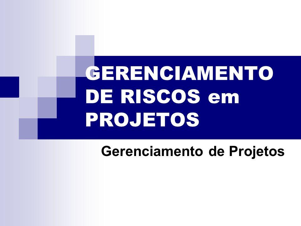 GERENCIAMENTO DE RISCOS em PROJETOS Gerenciamento de Projetos