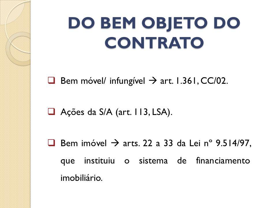 DO BEM OBJETO DO CONTRATO Bem móvel/ infungível art. 1.361, CC/02. Ações da S/A (art. 113, LSA). Bem imóvel arts. 22 a 33 da Lei nº 9.514/97, que inst