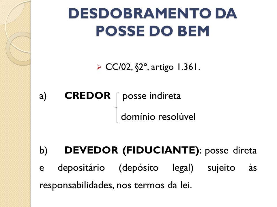 DESDOBRAMENTO DA POSSE DO BEM CC/02, §2º, artigo 1.361. a) CREDOR posse indireta domínio resolúvel b)DEVEDOR (FIDUCIANTE): posse direta e depositário