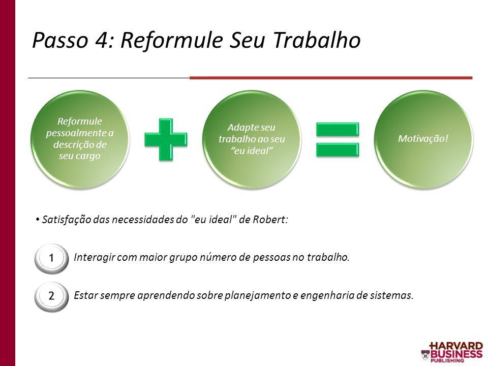 Passo 4: Reformule Seu Trabalho Interagir com maior grupo número de pessoas no trabalho. Satisfação das necessidades do