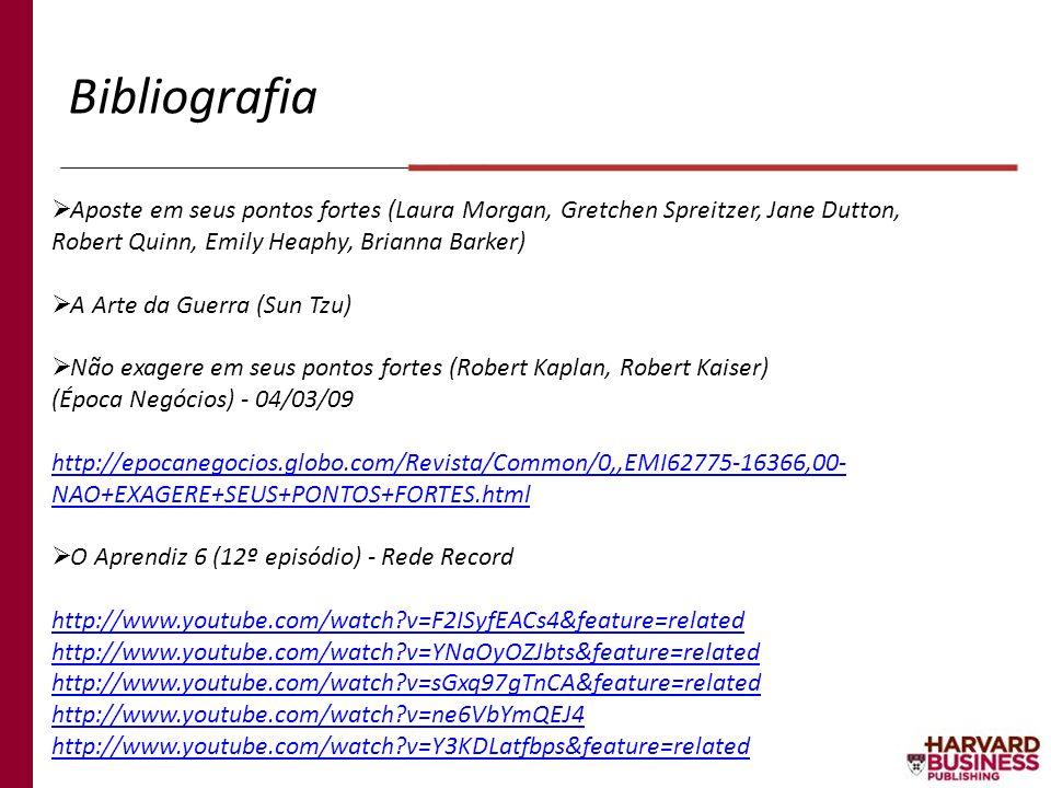 Bibliografia Aposte em seus pontos fortes (Laura Morgan, Gretchen Spreitzer, Jane Dutton, Robert Quinn, Emily Heaphy, Brianna Barker) A Arte da Guerra