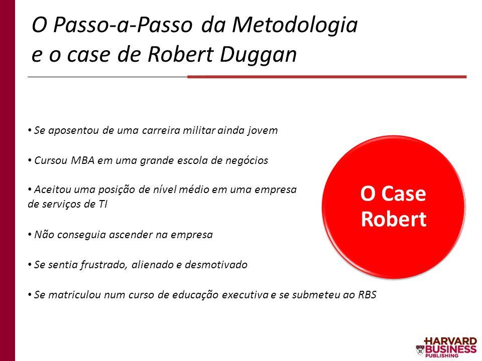 O Passo-a-Passo da Metodologia e o case de Robert Duggan O Case Robert Se aposentou de uma carreira militar ainda jovem Cursou MBA em uma grande escol