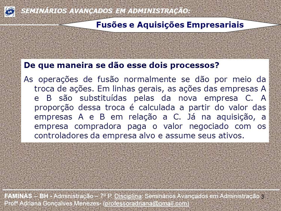 3 FAMINAS – BH - Administração – 7º P. Disciplina: Seminários Avançados em Administração Profª Adriana Gonçalves Menezes- (professoradriana@gmail.com)