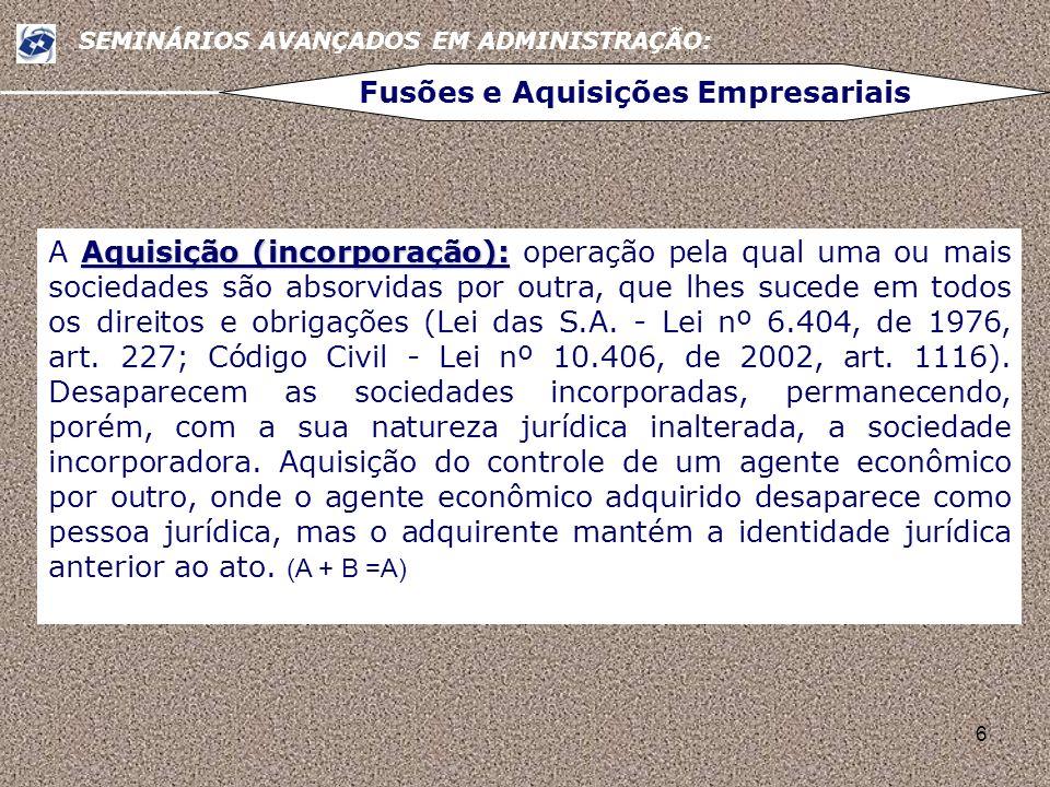 6 SEMINÁRIOS AVANÇADOS EM ADMINISTRAÇÃO: Fusões e Aquisições Empresariais Aquisição (incorporação): A Aquisição (incorporação): operação pela qual uma