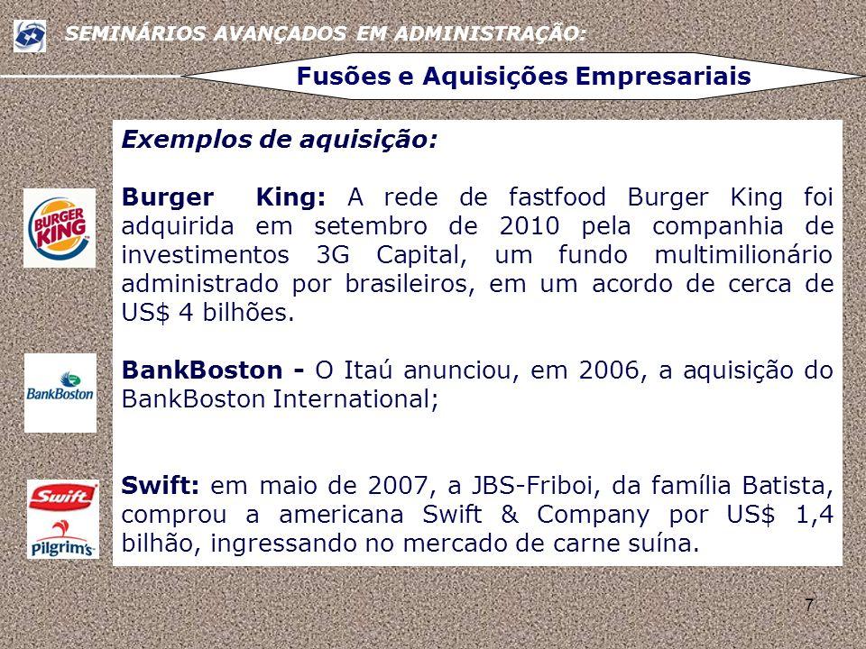 7 SEMINÁRIOS AVANÇADOS EM ADMINISTRAÇÃO: Fusões e Aquisições Empresariais Exemplos de aquisição: Burger King: A rede de fastfood Burger King foi adqui