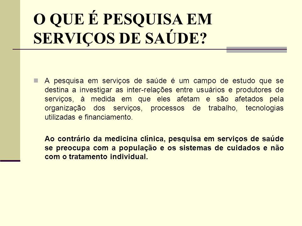 Tipos de Pesquisas mais Comuns na Área de Saúde: Pesquisa de campo: investigação onde ocorre ou ocorreu o fenômeno.