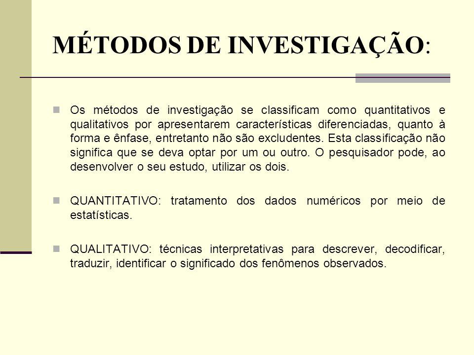 MÉTODOS DE INVESTIGAÇÃO: Os métodos de investigação se classificam como quantitativos e qualitativos por apresentarem características diferenciadas, q