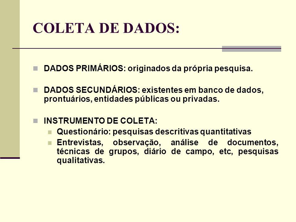 COLETA DE DADOS: DADOS PRIMÁRIOS: originados da própria pesquisa. DADOS SECUNDÁRIOS: existentes em banco de dados, prontuários, entidades públicas ou